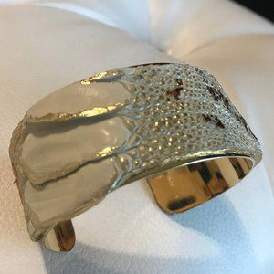 Exotic Leather Gold Plated Cuff Bracelet, Handmade